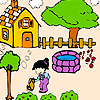 Beautiful garden and farmgirl  coloring