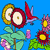 Play Sunflowers and hummingbird coloring