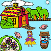 Farmer girl and flower garden coloring