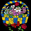 Roses in flowerpot coloring