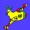 Fast flying colorful  airplane coloring