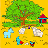 Big farm tree and animals coloring