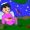 The cute little angel has descended on the garden to relax. As she spreads the message of love to the animals around her, why dont you add happiness and life to the serene scene with a splash of colors? Enjoy both the drawings with all possible color combos.