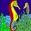 Deep sea horses coloring