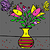 Flowers in  vase coloring