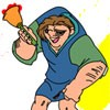 Color this cute picture of the Hunchback of Notre Dame. Use the paintbrush to select colors and click on each section to paint in it. Color the various clothes, people, accessories, and hair of the characters to make them look their best.