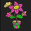 Home flower and butterflies coloring
