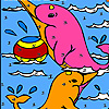 Pink ocean dolphins coloring