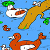 Duck family in the river coloring