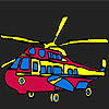 Colorful military helicopter coloring