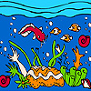 Ocean and colorful fishes coloring