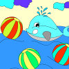 Kid`s coloring: ?heerful dolphin is free coloring game.