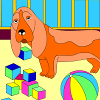 Kid's coloring: The playful dog