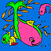 Pink dolphins in the sea coloring