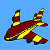 Red flying airplane coloring