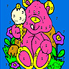 Pink bear and ice cream coloring