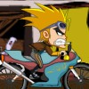 Being a great fan of Kick Buttowski, it is now time for you to try playing this new game, Crazy Kick Motorbike with Kick riding it. By using the arrow keys to control the motorbike you need to make sure that you are able to drive it safely bringing him on the finish line. But if you think you are playing an easy game, you are wrong. The game is an unlocking type game wherein you need to unlock the previous level before you can play the higher level. The road where you need to drive the motorbike is also not easy. It is an up and down hill type that you need to keep the balance and use the arrow keys wisely as to not stumble down and lose a life. You will collect all the pies that you will see in the way to add score. To finish the game and unlock all the ten levels of it.