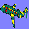 Green flying airplane coloring