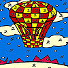 Red flying balloon coloring