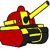 Red military tank coloring