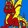 Red little dragon coloring