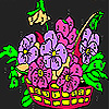 Flowers in a basket coloring