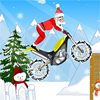 Help Santa Claus ride his bike to go around collecting all the gifts and presents.
