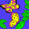 Leaves and butterflies coloring