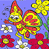 Funny butterfly in garden coloring