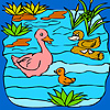 Funny duck family in the lake coloring