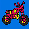 Mini red motorcycle coloring