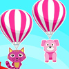 Fly high! Stay cute and happy! Don't lose hope if you can't reach the sky. Ride in an air balloon with your pets. Hop on the balloon and start the fun. Enjoy your ride up in the sky. Collect as many points as you can throughout the game.