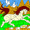White doves and horse coloring