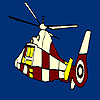 Colorful flying helicopter coloring