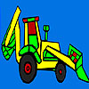 Colorful village tractor coloring