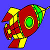 Flying Space rocket coloring