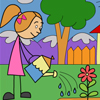 Watering Girl Coloring Page